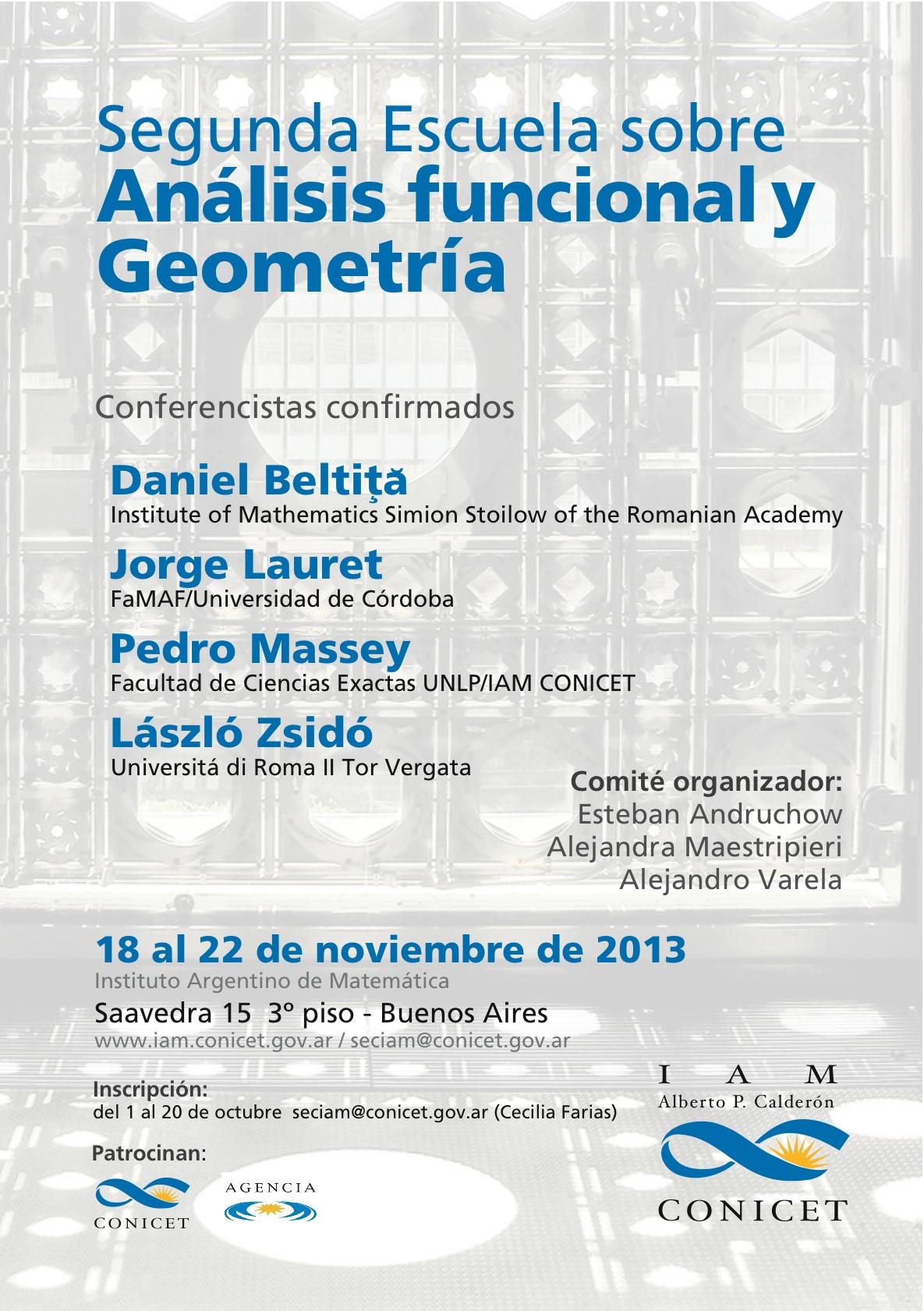 Segunda Escuela sobre Análisis Funcional y Geometría
