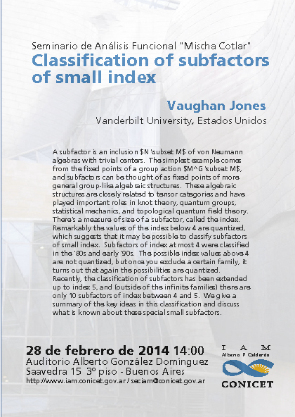 "Seminario de Análisis Funcional ""Mischa Cotlar"" Classification of subfactors of small index"